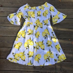 Lane Bryant Lemon Print Off Shoulder Dress